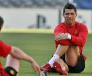 Cristiano Ronaldo treina no Camp Nou