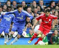 Ballack e Mascherano, Chelsea-Liverpool, meia-final da Liga dos Campeões em Stamford Bridge