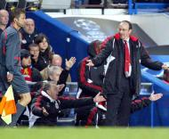 Rafael Benítez, treinador do Liverpool, em Stamford Brigde, na meia-final da Liga dos Campeões com o Chelsea