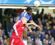 Martin Skrtel e Didier Drogba, Chelsea-Liverpool, meia-final da Liga dos Campeões em Stamford Bridge
