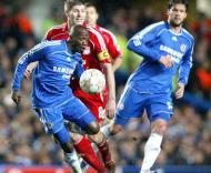 Makelele, Gerrard e Ballack, Chelsea-Liverpool, meia-final da Liga dos Campeões em Stamford Bridge