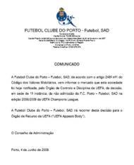 Comunicado enviado pelo F.C. Porto à CMVM