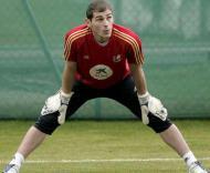 Iker Casillas durante o treino da Espanha, do Grupo D do Euro-2008