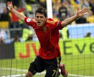 Villa celebra golo da vitória marcado frente à Suécia, Grupo D do Euro-2008