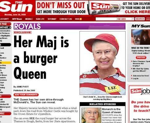 Rainha Isabel II comprou restaurante McDonald's
