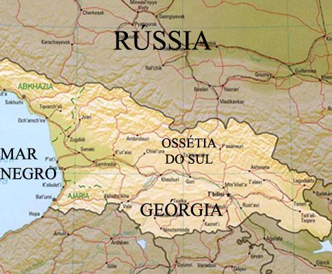 Mapa Rússia/Geórgia/Ossétia do Sul