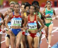 Jessica Augusto durante a eliminatória olímpica dos 5000m