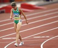 Jessica Augusto após a eliminatória olímpica dos 5000m