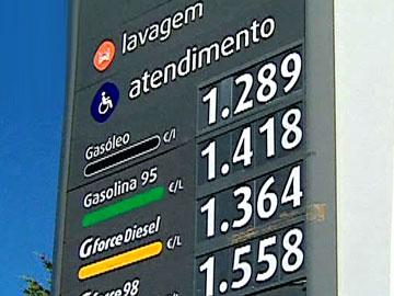 Painéis com preços dos combustíveis