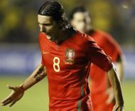 Brasil-Portugal, Danny celebra o golo (Foto FPF)