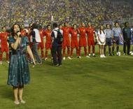 Brasil-Portugal, o hino ao vivo (Foto FPF)