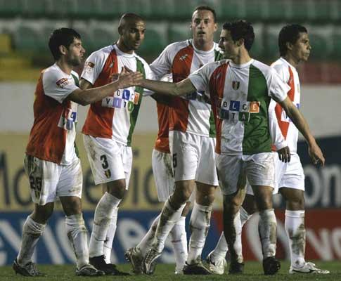 Jogadores do Estrela, durante a recepção ao Ol. Moscavide para a Taça de Portugal