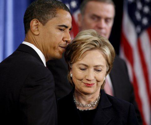 Conferência de imprensa de «transição» com o presidente eleito Barack Obama e Hillary Clinton, convidada para secretária de Estado