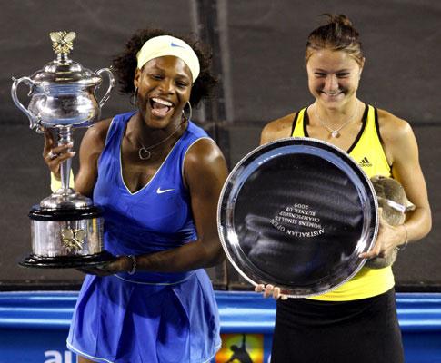 Serena Williams e Dinara Safina no final do Open da Austrália