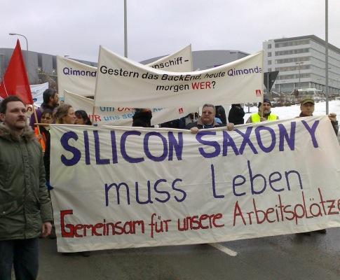 Manifestação de trabalhadores da Qimonda em Dresden