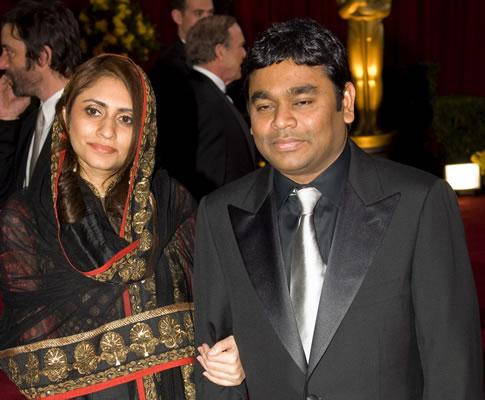 A.R. Rahman e Saaira Rahman na 81ª gala dos Óscares (EPA)