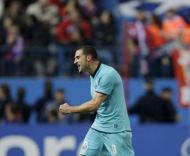 Lisandro Lopez, durante o At. Madrid-F.C. Porto