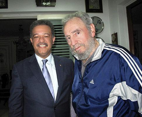 Fidel Castro e o presidente da República Dominicana