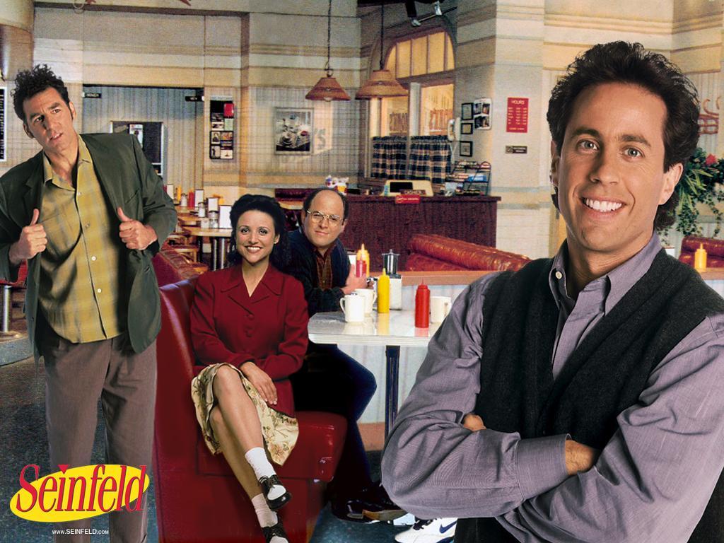 Jerry Seinfeld, Julia Louis-Dreyfus, Jason Alexander e Michael Richards, da série «Seinfeld»