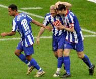Raffael, Voronin e Friedrich comemoram golo do Hertha