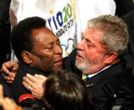 Lula da Silva e Pelé festajam candidatura