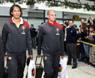Bruno Alves e Pepe à chegada a Sarajevo