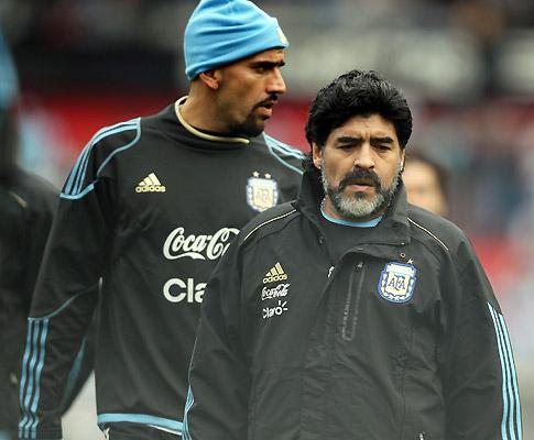 Maradona e Veron