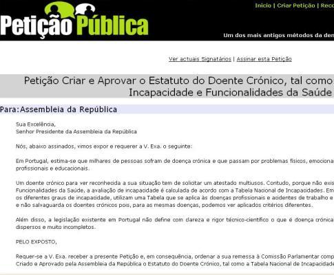 EM: petição online para criação de estatuto do doente crónico