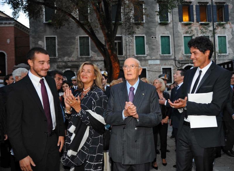 Giorgio Napolitano, Jacopo, Paola e Alessandro durante o 67º Festival de Veneza ¿ 1º dia