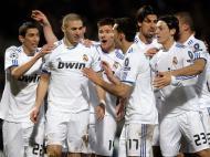 A festa do Real Madrid depois do golo de Benzema em Lyon
