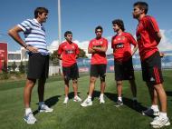 Del Potro, Gaitán, Jara, Aimar e Saviola (Foto: Gualter Fatia/Benfica)