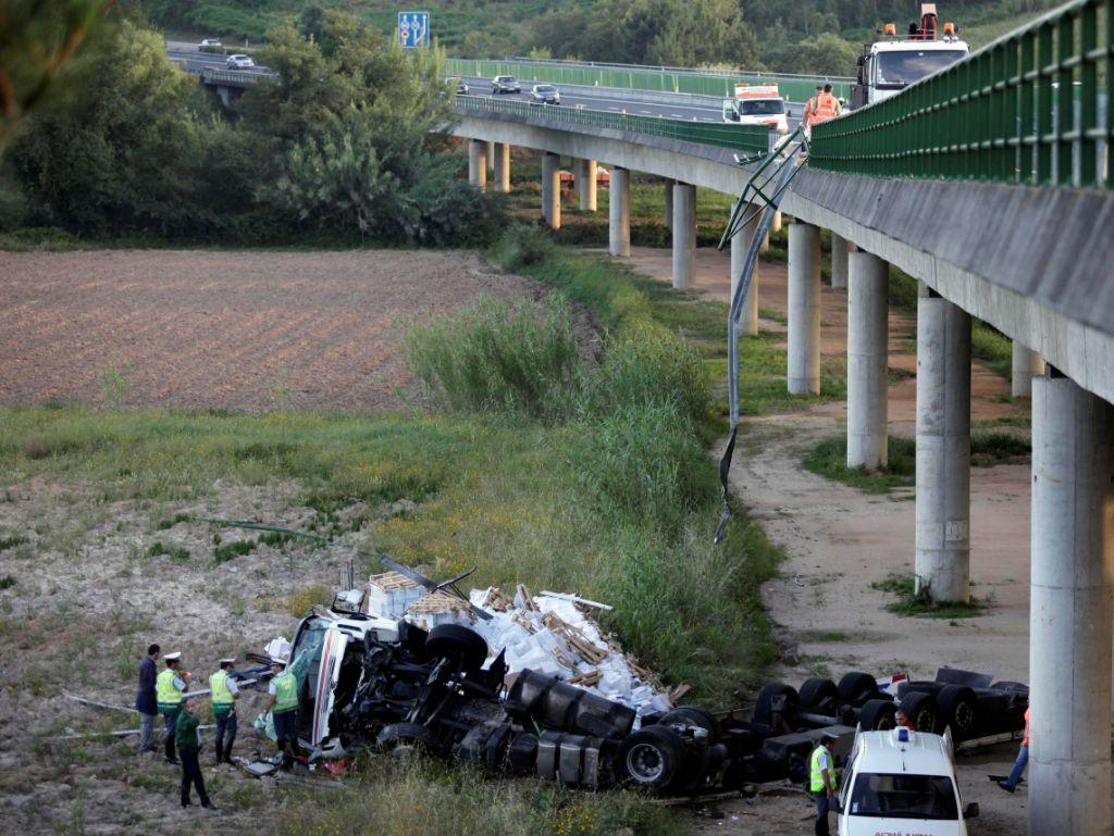Camião cai de viaduto na A1 (LUSA)