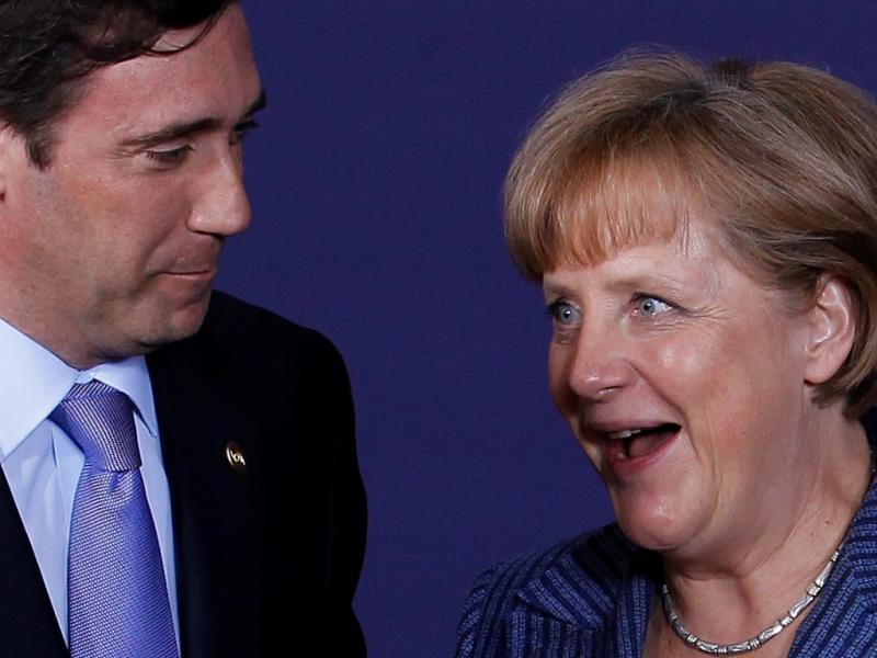 Nicolas Sarkozy, Passos Coelho e Angela Merkel no Conselho Europeu