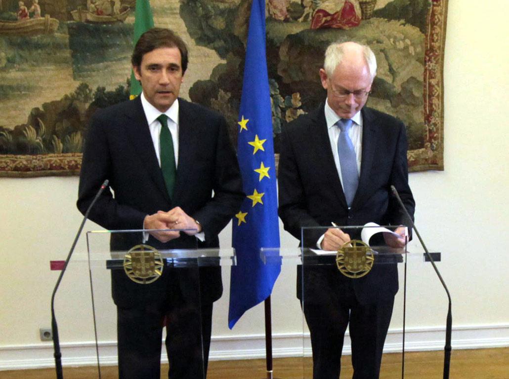 Pedro Passos Coelho European e Herman Von Rompuy (Manuel de Almeida/Lusa)