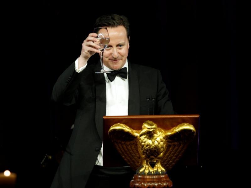 David Cameron faz um brinde durante o jantar na Casa branca (Reuters)