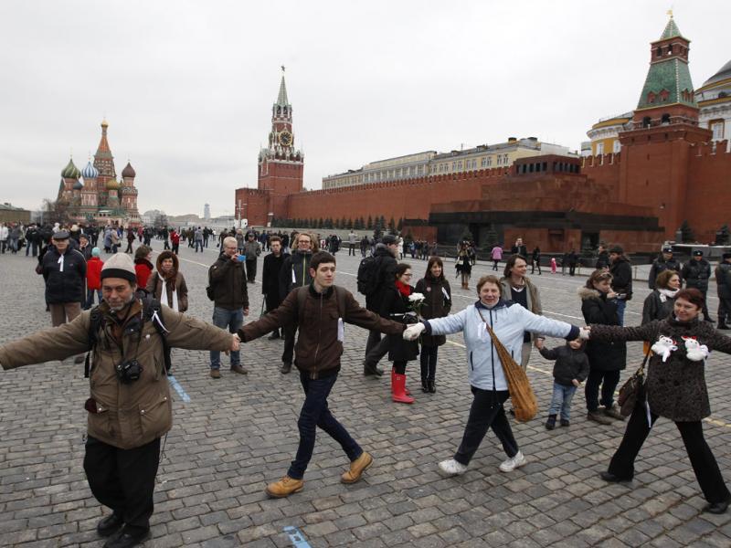 Protesto na Praça Vermelha em Moscovo (Maxim Shemetov/Reuters)