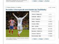 «Bombas de Ronaldo decidem derby de Madrid», diz o Kicker, edição online