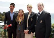 Novak Djokovic e a namorada, Jelena Ristic, com os príncipes do Mónaco - Monte Carlo Masters no Mónaco Foto: Reuters
