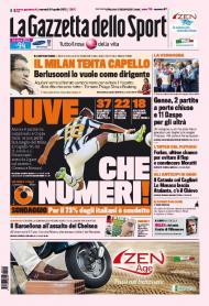 Gazzetta dello Sport: o Milan tenta Capello, e os números da Juve