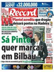 Record: Sá Pinto quer marcar em Bilbau