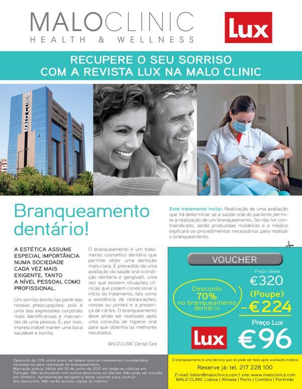 Revista Lux E Malo Clinic Oferecem 70 De Desconto No Branqueamento