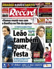 «Record»: F.C. Porto celebra título e Sporting luta pela Champions