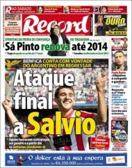 «Record»: Benfica tenta contratar Salvio