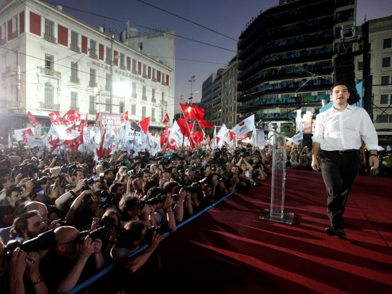 Alexis Tsipras no comícia da Syriza (Reuters)