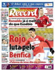 Record: «Rojo luta pelo Benfica»