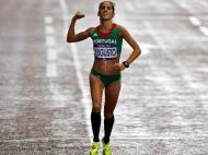 Jessica Augusto (maratona): olha, uma celebração em português