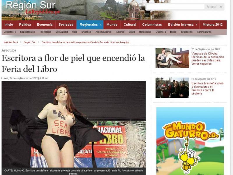 Peru:escritora despe-se durante discurso