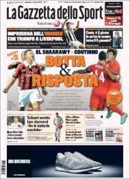 Gazzetta: El Shaarawy vs Coutinho, o derby está aí