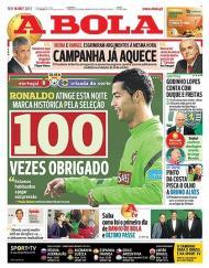 A Bola: obrigado a Ronaldo e a campanha no Benfica