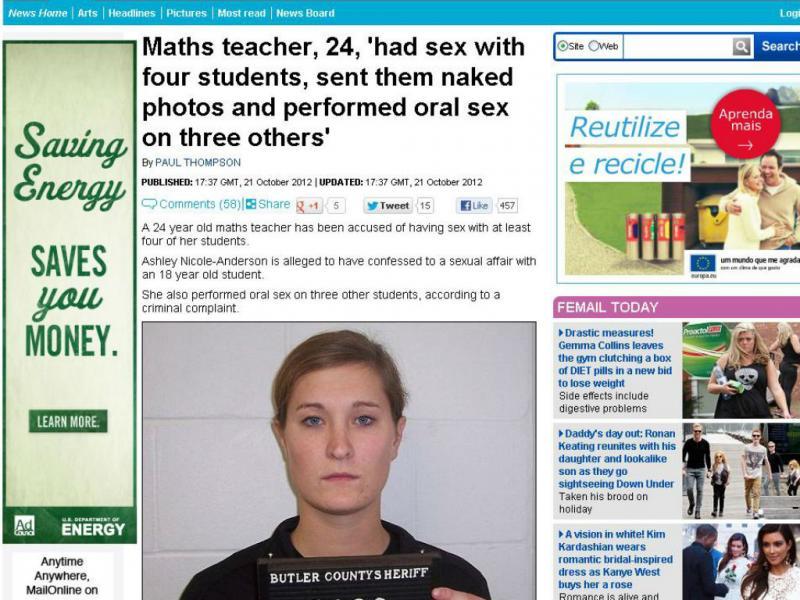 Professora acusada de ter relações sexuais com quatro alunos